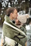 Handsome man kiss on the forehead her enamored, beautiful girl Stock Photos