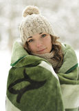Attractive, cute, beautiful girl wrapped up warm plaid, blanket winter Royalty Free Stock Photography