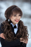 Attractive girl with perfect hairstyle,make-up,healthy,white,cute smile royalty free stock image