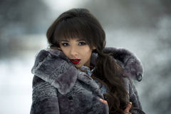 Fashionable,glamorous model,girl with gorgeous mouton grey fur coat Stock Images