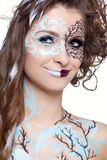 Model with skew bodyart Royalty Free Stock Photos