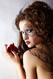 Model with skew bodyart Royalty Free Stock Photo
