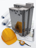 Model skyscraper. And drawings on a white background Stock Photos