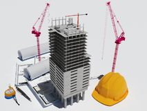 Model skyscraper. And drawings on a white background,3D render Royalty Free Stock Photo