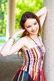 Model, Slim Brunette With Long Hair Stock Photos