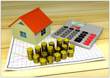 Model of small house, golden coins, graph and. 3D model of small house, golden coins, graph and calculator - mortgage concept Royalty Free Stock Photos