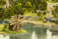 Model of the small town. Hand-made model of the small town, mill and river Royalty Free Stock Photos