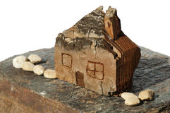 Model of a small wooden house Royalty Free Stock Photos