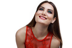 Model with a smile. Beautiful  model with green eye shadows isolated against white background Royalty Free Stock Image