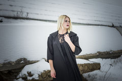 Model and snow Stock Images