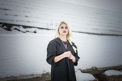 Model and snow Royalty Free Stock Photography