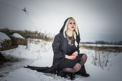 Model and snow Stock Photos