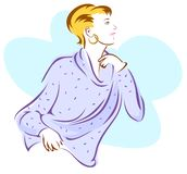Model In A Soft Sweater. Stylized image of a woman wearing a soft, flowing sweater Stock Photos