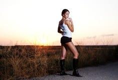 model solnedgång för autostop Royaltyfri Foto
