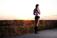 model solnedgång för autostop Fotografering för Bildbyråer