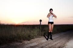 model solnedgång för autostop Royaltyfria Bilder