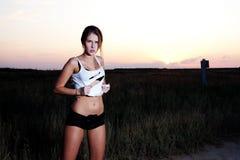 model solnedgång för autostop Arkivfoto