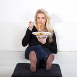 Model with spagetti Royalty Free Stock Photo