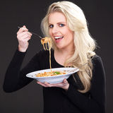 Model with spagetti Royalty Free Stock Photography