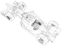 Model speed car. Abstract drawing. Tracing illustration of 3d. Model speed car. Abstract drawing. Tracing illustration of 3d Stock Image