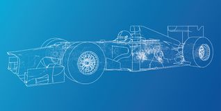 Model speed car. Abstract drawing. Wire-frame. EPS10 format. Vector created of 3d. Model speed car. Abstract drawing. Wire-frame. EPS10 format. Vector created Royalty Free Stock Photo