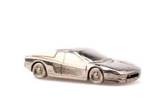 Model of sport car in silver metal isolated Stock Photos
