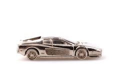 Model of sport car in silver metal isolated Stock Image