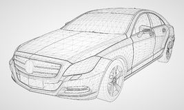 The model sports a premium sedan. Vector illustration in the form of a black polygonal triangular grid on a gray background. The model sports a premium sedan Royalty Free Stock Images