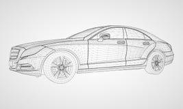 The model sports a premium sedan. Vector illustration in the form of a black polygonal triangular grid on a gray background. The model sports a premium sedan Stock Photo