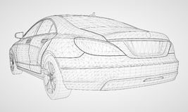 The model sports a premium sedan. Vector illustration in the form of a black polygonal triangular grid on a gray background. The model sports a premium sedan Royalty Free Stock Photography
