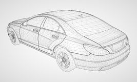The model sports a premium sedan. Vector illustration in the form of a black polygonal triangular grid on a gray background. The model sports a premium sedan Royalty Free Stock Image