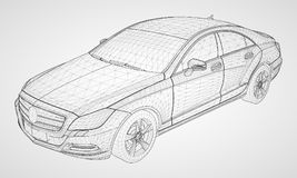 The model sports a premium sedan. Vector illustration in the form of a black polygonal triangular grid on a gray background. The model sports a premium sedan Stock Photography