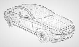 The model sports a premium sedan. Vector illustration in the form of a black polygonal triangular grid on a gray background. The model sports a premium sedan Stock Photos