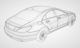 The model sports a premium sedan. Vector illustration in the form of a black polygonal triangular grid on a gray background. The model sports a premium sedan Royalty Free Stock Photos