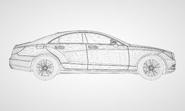 The model sports a premium sedan. Vector illustration in the form of a black polygonal triangular grid on a gray background. The model sports a premium sedan Stock Image