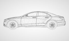The model sports a premium sedan. Vector illustration in the form of a black polygonal triangular grid on a gray background. The model sports a premium sedan Stock Images