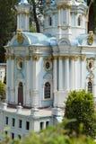 Model St. Andrew's Church in Kiev Stock Photo