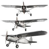 Ancient fight airplane. Model of steel ancient fight airplane isolated on white background with clipping path royalty free stock photography