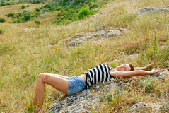 Model in steppe Stock Photos