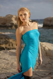 Model on the stony beach Royalty Free Stock Photos