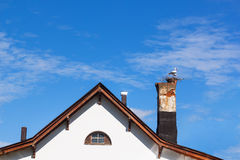 Model stork's nest on the tube farmhouse. Stock Photos