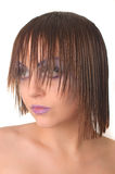 Model with straight hair. Model with straight wet hair looking Stock Images