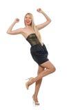 The model in strapless elegant dress isoalted on white Royalty Free Stock Photo