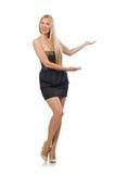The model in strapless elegant dress isoalted on white Stock Photography