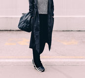 Model on the street. Stylish urban lok. Royalty Free Stock Photography