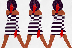 Model in striped dress. Cool Royalty Free Illustration