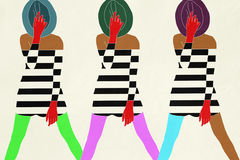 Model in striped dress. Cool Stock Illustration