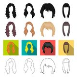 Model, style, wig and other web icon in different style.theaters, circus, entourage, icons in set collection. Royalty Free Stock Images