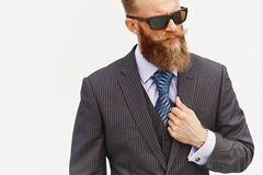 Model in suit and sunglasses Stock Photography