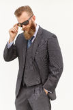 Model in suit and sunglasses Royalty Free Stock Image